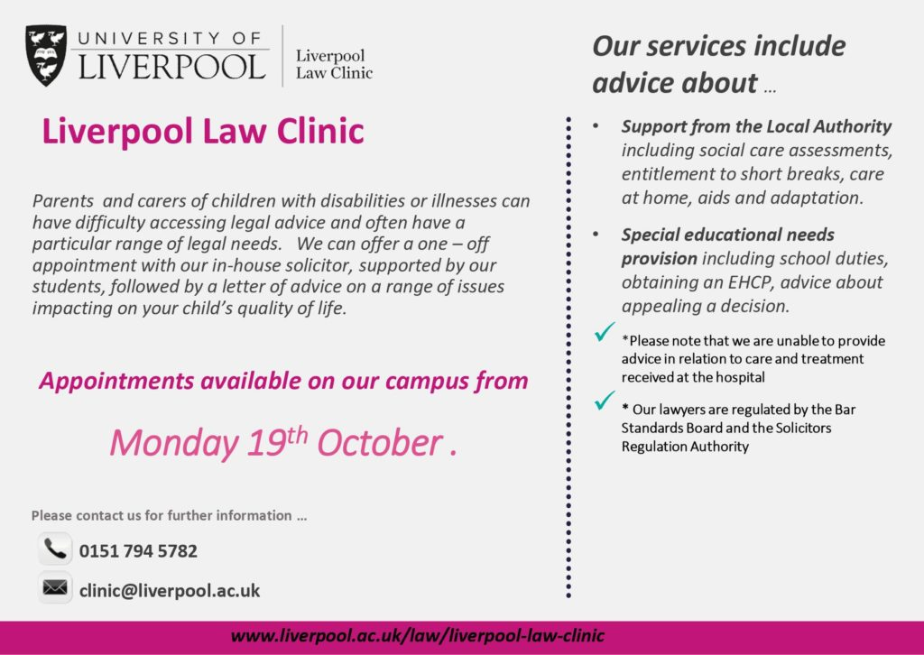 details for free legal advice from University of Liverpool. Available in accessible format below