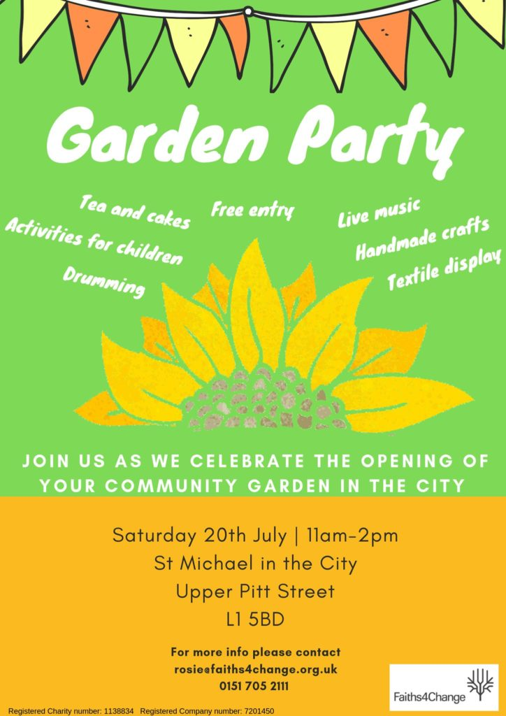 Garden party flyer, all information repeated in text format below
