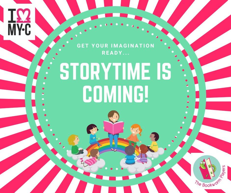 This advert for virtual storytime at My Clubmoor reads get your imagination ready, storytime is coming