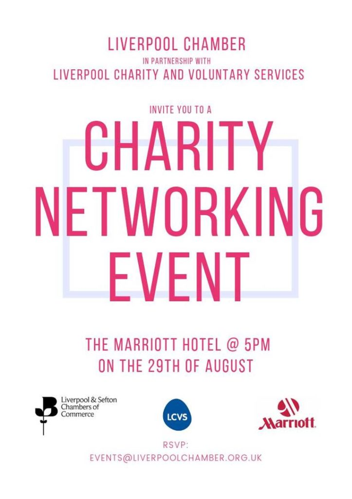 Charity networking flyer. All details repeated below