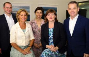 DCMS ministerial team in July 2019 (Matt Warman, Rebecca Pow, Baroness Barran, Nicky Morgan, and Nigel Adams)