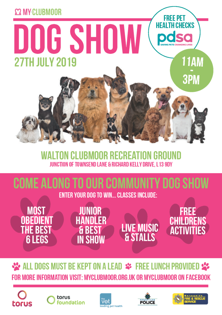 MyClubmoor Dog Show Flyer, relevant information repeated in text form below