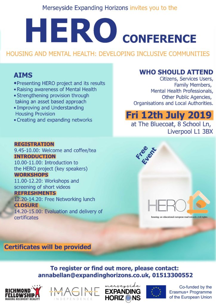 Invitation to Merseyside Expanding Horizon's Hero Conference. Important info repeated below in text format