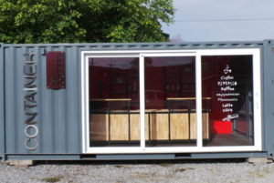 Container unit converted into Lift the Lid coffee pod