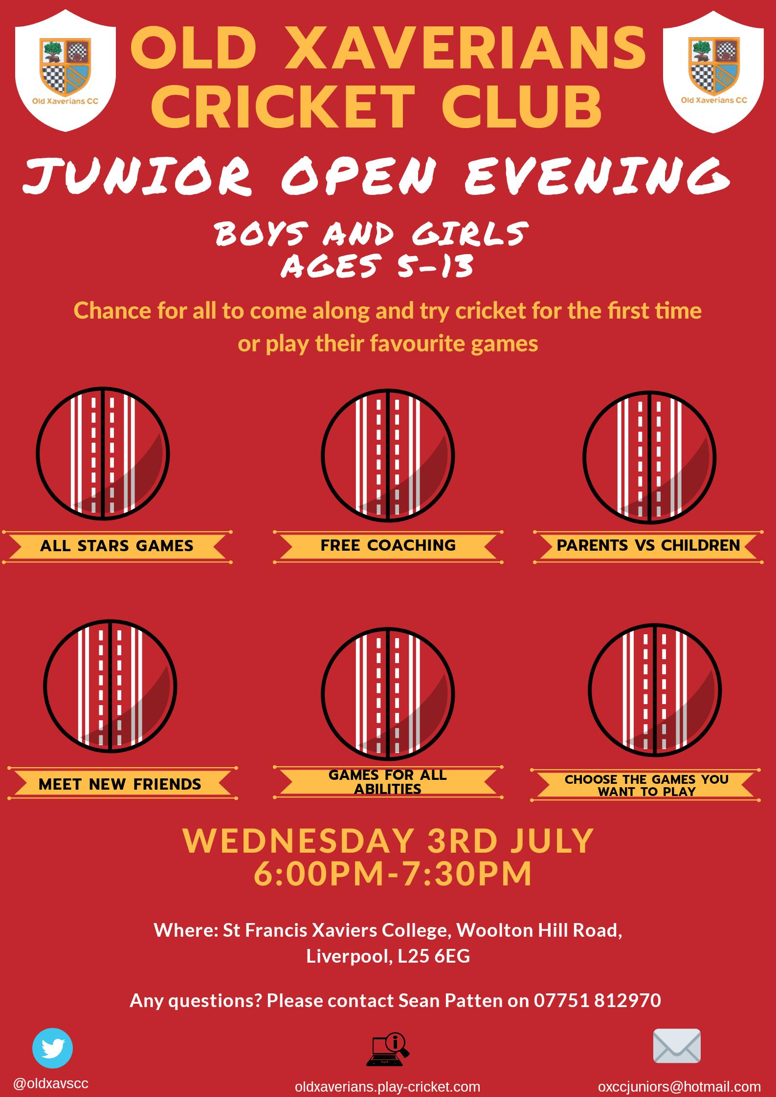 Old Xaverians Cricket Club Open Evening flyer