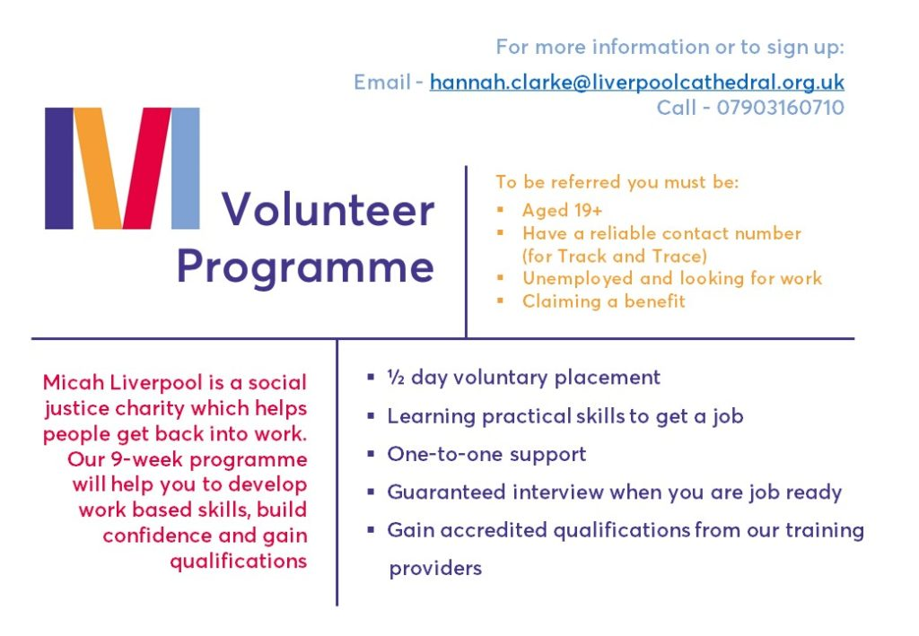 Micah Volunteer Programme flyer - text in full below