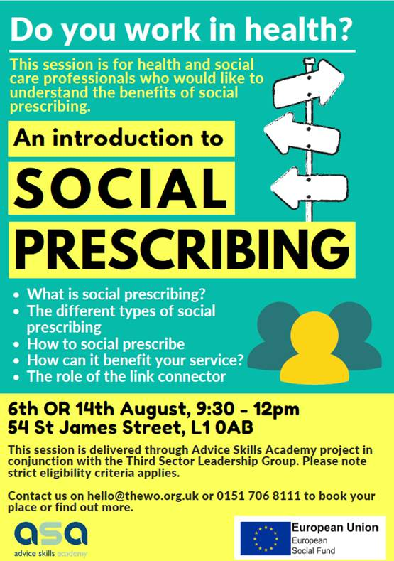 Introduction to social prescribing flyer. Info repeated below