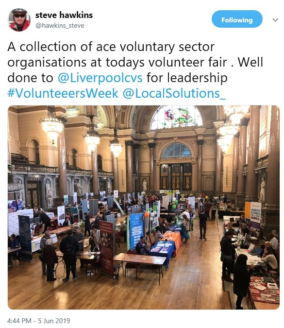 Image of a tweet from Steve Hawkins saying he met a collection of ace voluntary sector organisations at the volunteer show