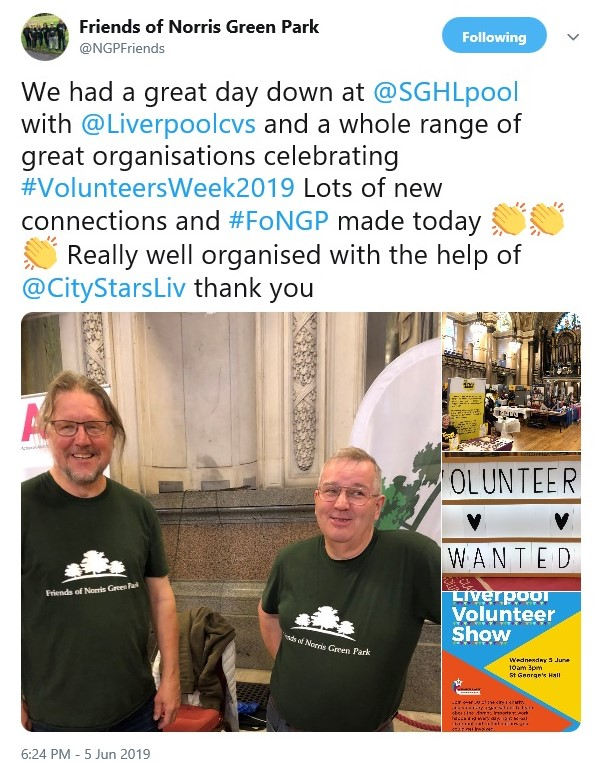 Image of a tweet from Friends of Norris Green Park saying that they had a great time at Liverpool Volunteer Show