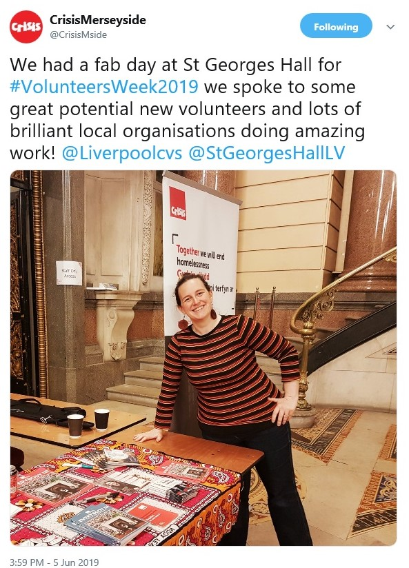 Tweet from Crisis Merseyside saying what a great time they had at the volunteer show