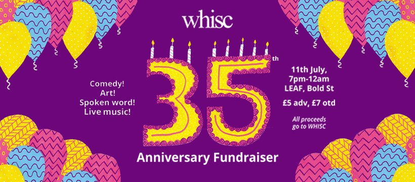 WHISC 35th birthday party flyer