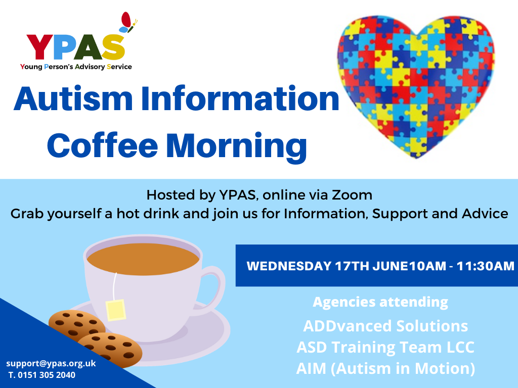 Autism information coffee morning flyer. All information is repeated above, in an accessible format