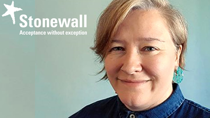 Stonewall banner including a logo and a photo of Nancy