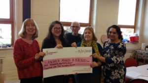 Ladies hold cheque from the Lottery