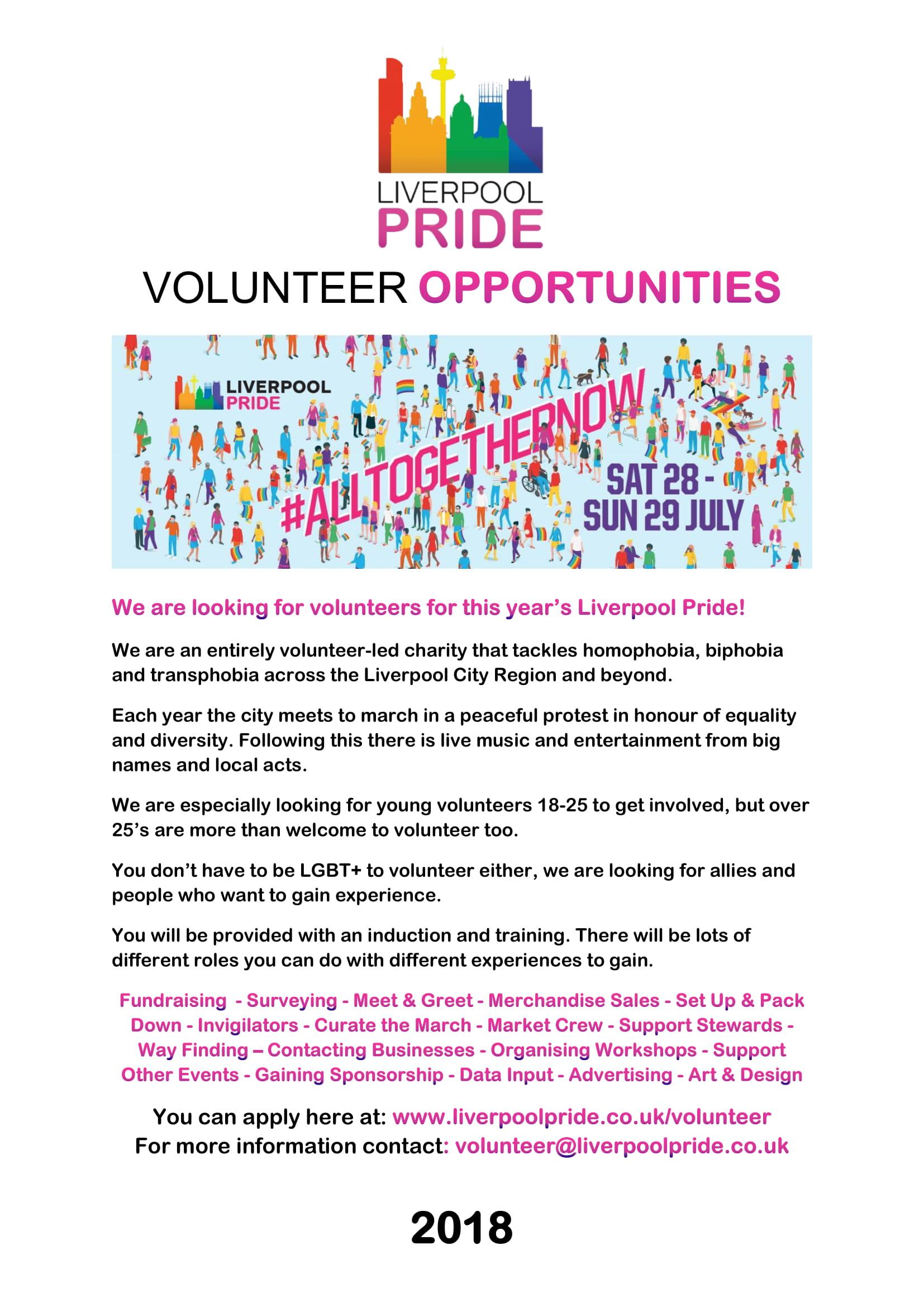 Liverpool Pride Volunteer Opportunities